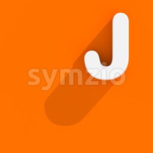 3d Uppercase font J with flat style - Capital 3d character Stock Photo