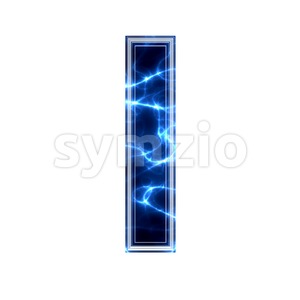 3d Small letter L covered in Blue lightning texture Stock Photo