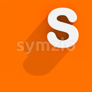 3d Uppercase font S with Flat design style - Capital 3d letter Stock Photo