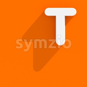 flat character T - Uppercase 3d letter Stock Photo