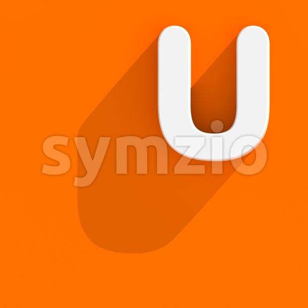 Flat design 3d letter U - Capital 3d font Stock Photo