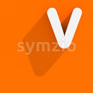 Capital Flat design letter V - Upper-case 3d character Stock Photo
