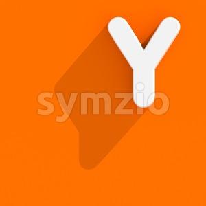 Upper-case Flat design font Y - Capital 3d character Stock Photo