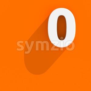 Flat design number 0 - 3d digit Stock Photo