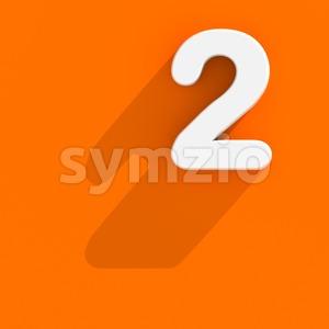 Flat design digit 2 - 3d number Stock Photo