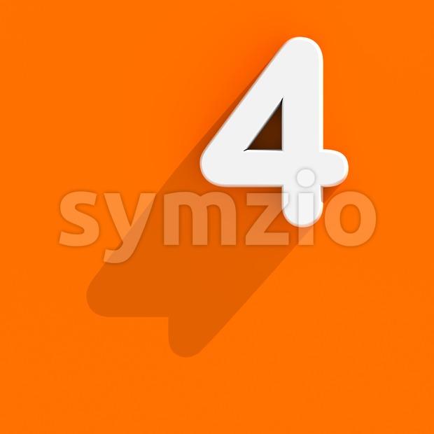 Flat design digit 4 - 3d number Stock Photo