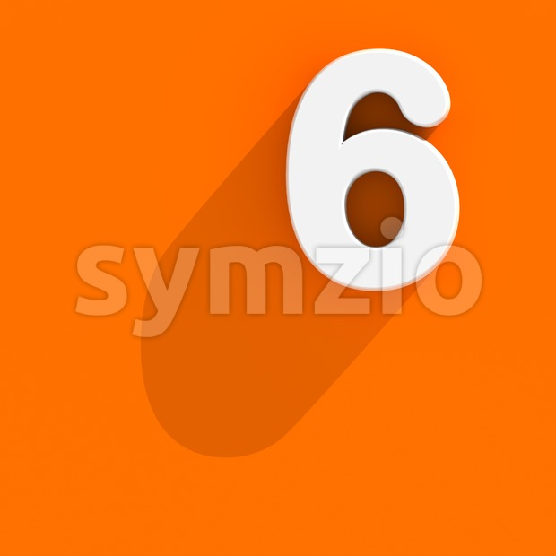 Flat design digit 6 - 3d number Stock Photo
