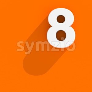 Flat design digit 8 - 3d number Stock Photo