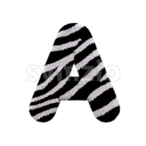 zebra fur letter A - Capital 3d character Stock Photo