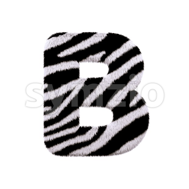 Capital zebra coat letter B - Upper-case 3d font Stock Photo