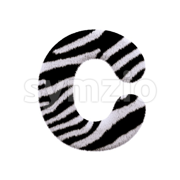 3d zebra fur font C - Capital 3d letter Stock Photo