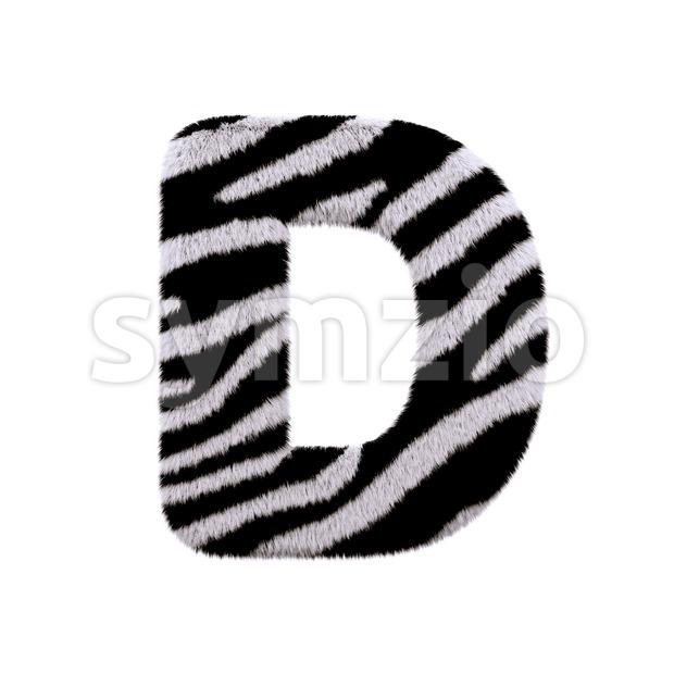 zebra font D - Capital 3d character Stock Photo