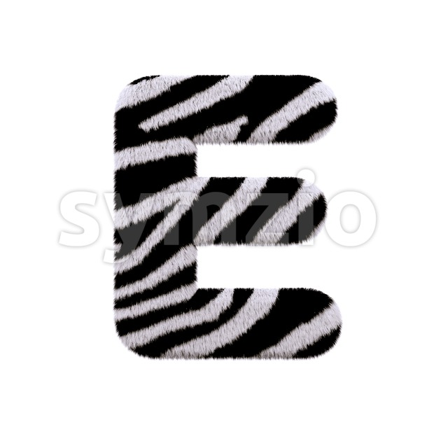 3d Capital character E covered in zebra texture Stock Photo