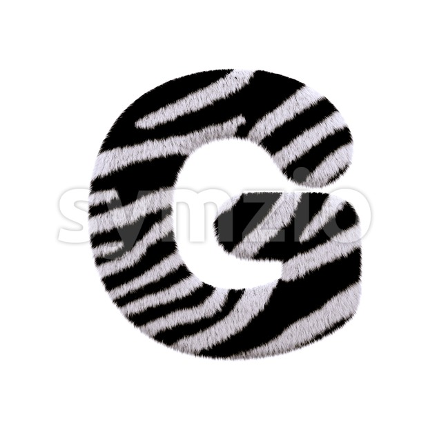Upper-case zebra fur character G - Capital 3d font Stock Photo