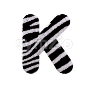 Uppercase zebra fur letter K - Capital 3d font Stock Photo