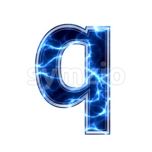 3d Lower-case font Q covered in Blue lightning texture Stock Photo