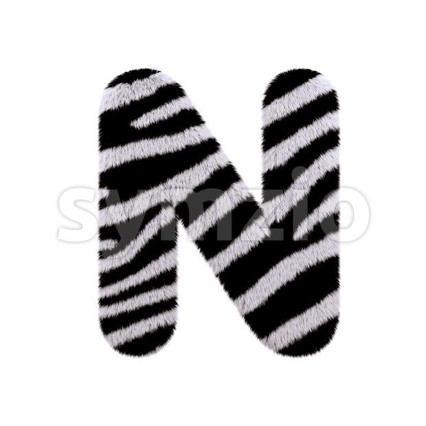 zebra font N - Capital 3d letter Stock Photo