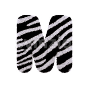 3d Capital character M covered in zebra texture Stock Photo