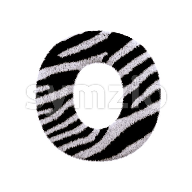 3d Upper-case letter O covered in zebra fur texture Stock Photo