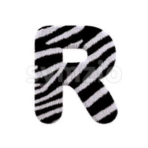 zebra letter R - Uppercase 3d font Stock Photo