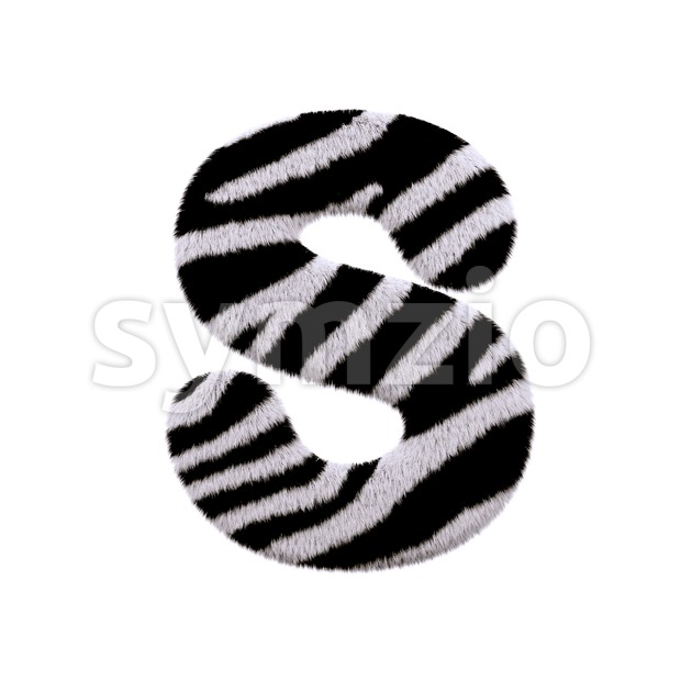 3d Uppercase font S covered in zebra fur texture Stock Photo