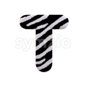 zebra coat character T - Uppercase 3d letter Stock Photo