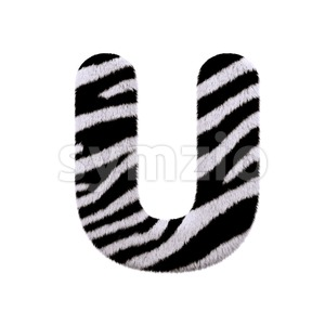zebra fur 3d letter U - Capital 3d font Stock Photo