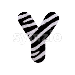 Upper-case zebra fur font Y - Capital 3d character Stock Photo