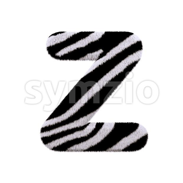 zebra letter Z - Upper-case 3d font Stock Photo
