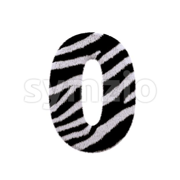zebra number 0 - 3d digit Stock Photo