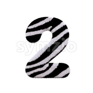 zebra digit 2 - 3d number Stock Photo