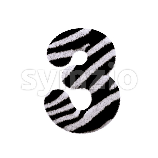 zebra number 3 - 3d digit Stock Photo