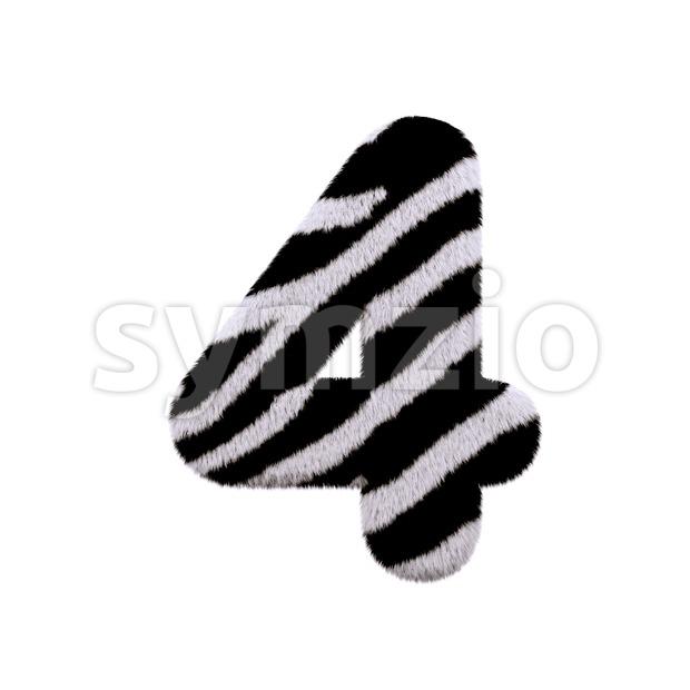 zebra digit 4 - 3d number Stock Photo