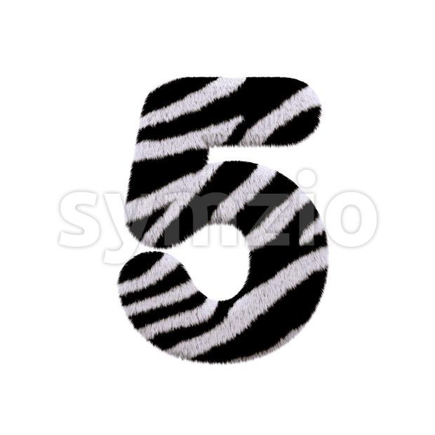 zebra number 5 - 3d digit Stock Photo