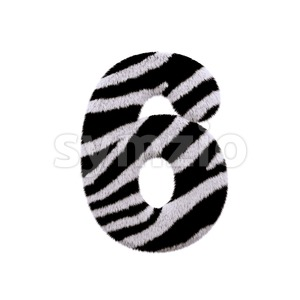 zebra digit 6 - 3d number Stock Photo