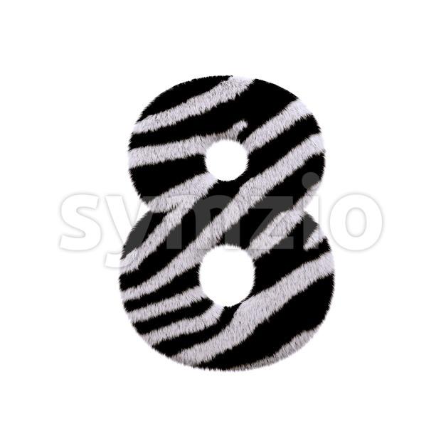 zebra digit 8 - 3d number Stock Photo
