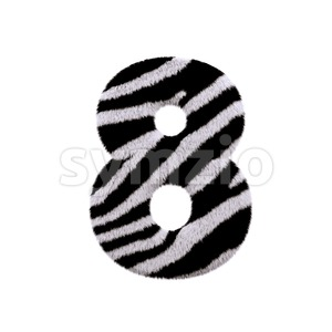 zebra digit 8 - 3d number Stock Photo