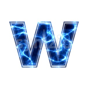 3d Lower-case letter W covered in Blue lightning texture Stock Photo