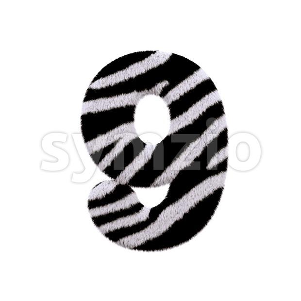 zebra number 9 - 3d digit Stock Photo