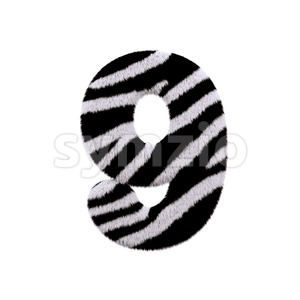 zebra number 9 - 3d digit Stock Photo