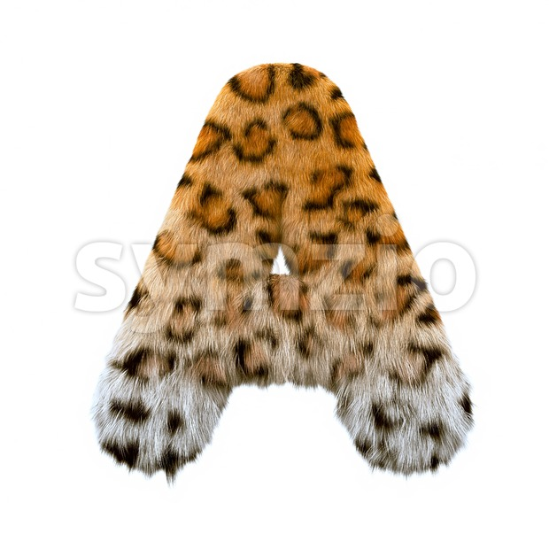 jaguar fur letter A - Capital 3d character Stock Photo