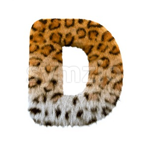 leopard fur font D - Capital 3d character Stock Photo