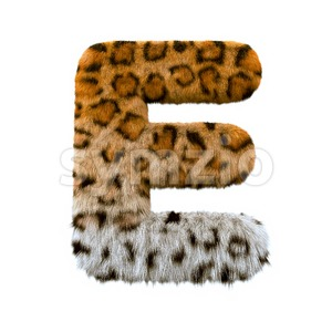 3d Capital character E covered in leopard texture Stock Photo