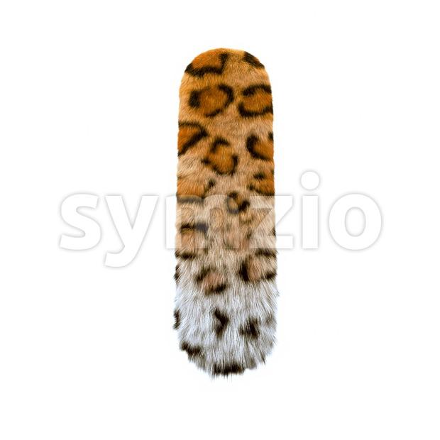 Uppercase leopard font I - Capital 3d letter Stock Photo