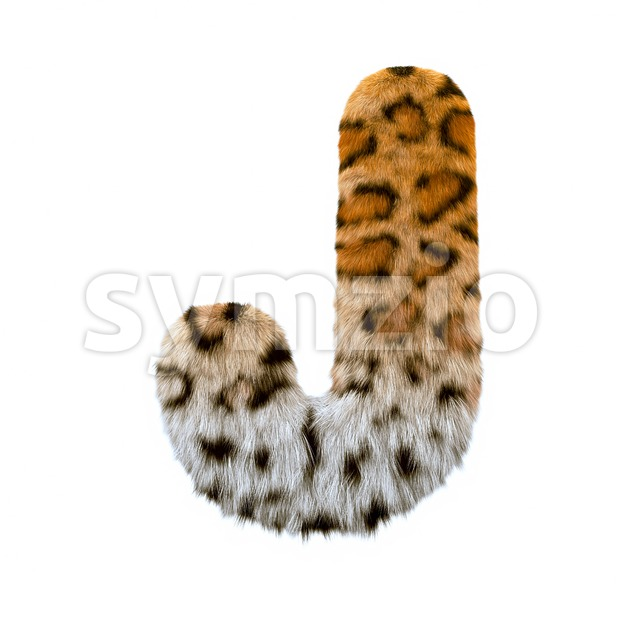3d Uppercase font J covered in panther fur texture Stock Photo