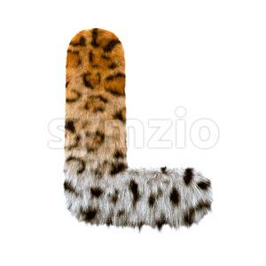 leopard 3d font L - Capital 3d character Stock Photo