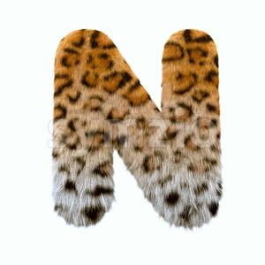 leopard font N - Capital 3d letter Stock Photo