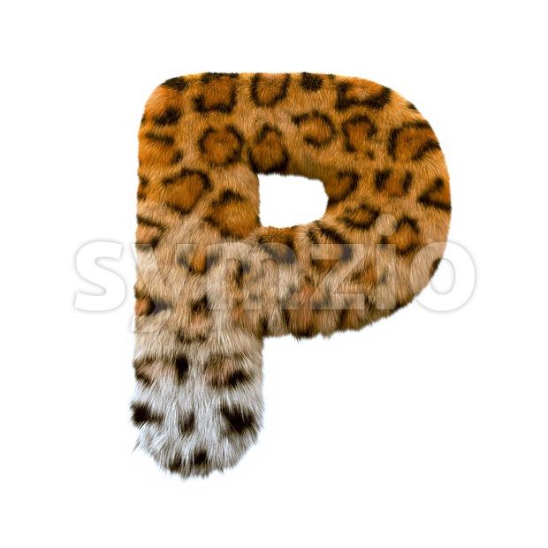 Upper-case leopard coat character P - Capital 3d font Stock Photo