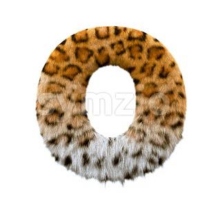 3d Upper-case letter O covered in jaguar texture Stock Photo