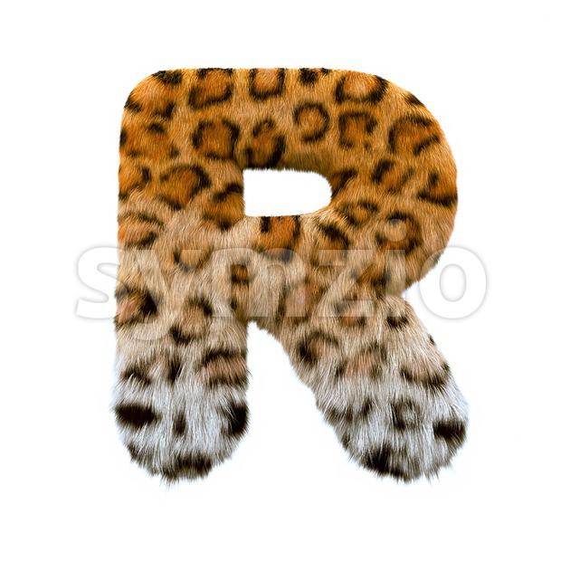 leopard letter R - Uppercase 3d font Stock Photo
